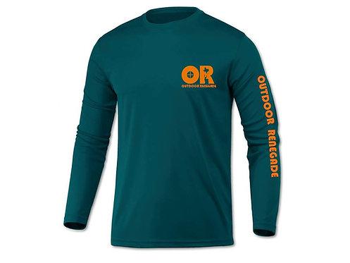 Men's Outdoor Renegade Fishing Shirt (Teal with Neon Orange)