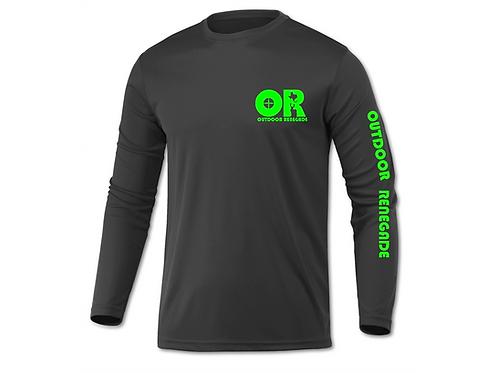 Men's Outdoor Renegade Fishing Shirt (Charcoal with Neon Green)