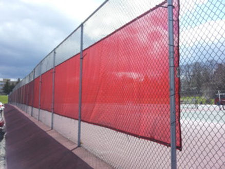 chain link red shade screen cover