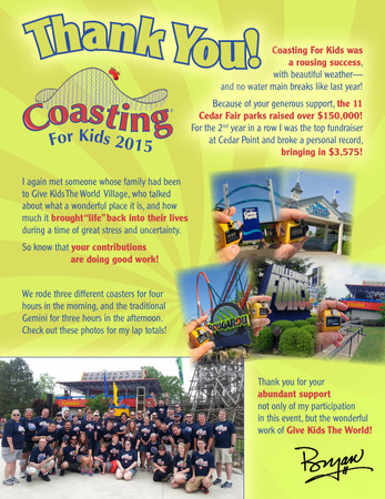 Coasting For Kids Thank You Flyer