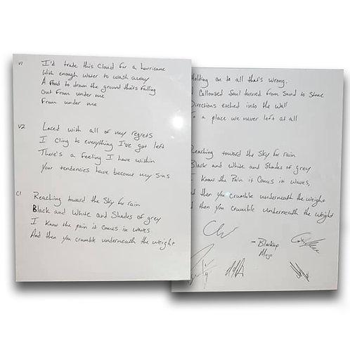 Blacktop Mojo Signed Lyric Sheets