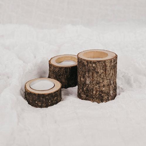 Teelichthalter 3er Set | Holz