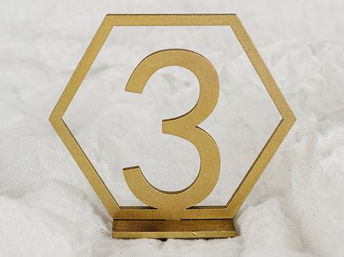 Tischnummern |Holz | gold