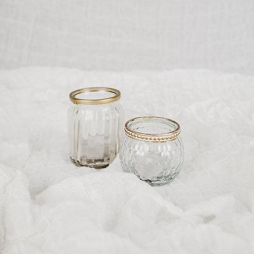 Teelichthalter 2er Set | gold