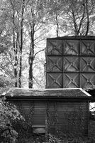 Black and white urban and landscape photography. A water storage tank rises above a small service building in a stand of tress