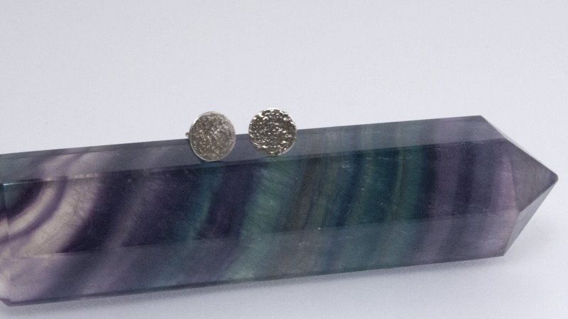 Large Moonscape Sterling Silver Studs