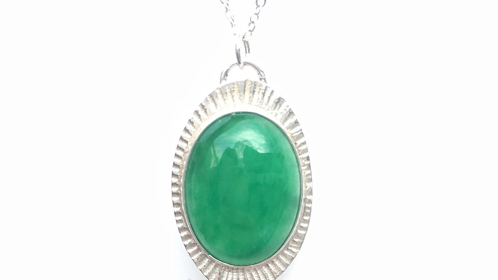 Green Agate and Silver Necklace