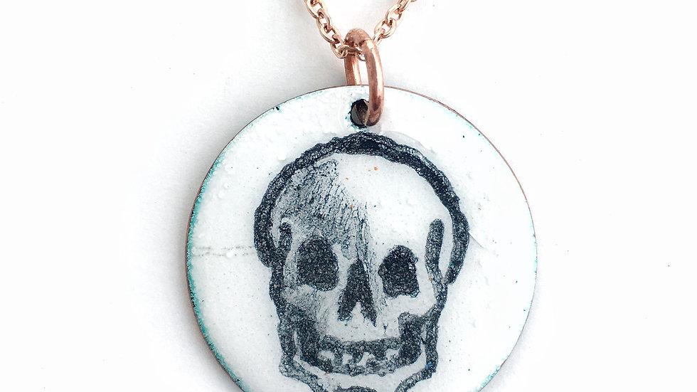 Hand Painted Skull Enamel Pendant