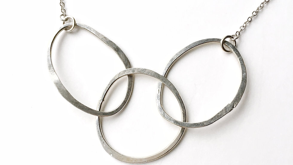 Triple Oval Hammered Sterling Silver Necklace