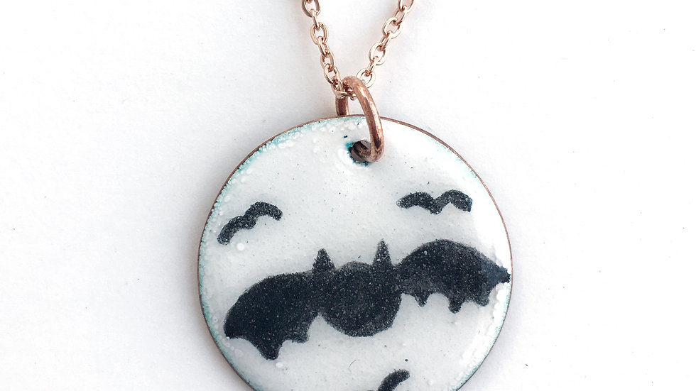 Hand Painted Bat Enamel Pendant