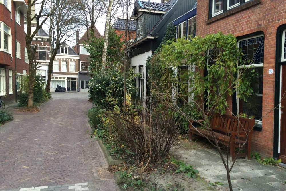 Kleine Appelstraat in Groningen. A typical woonerf accommodates landscaping and street furniture