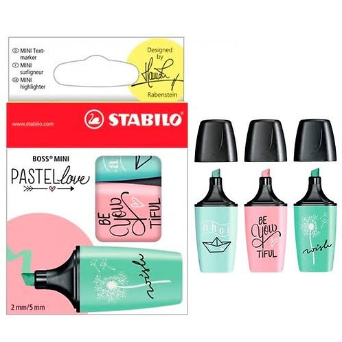 Kit 3 marcadores Stabilo Pastel Love