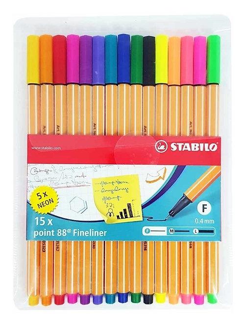 Kit Stabilo 88 com 15 cores