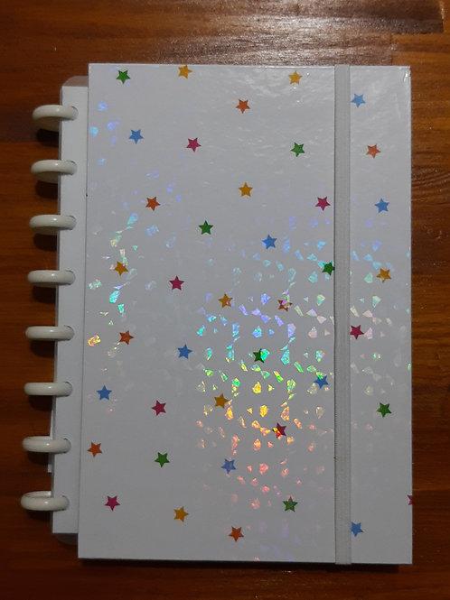 Caderno Criativo Holográfico Estrelas Coloridas