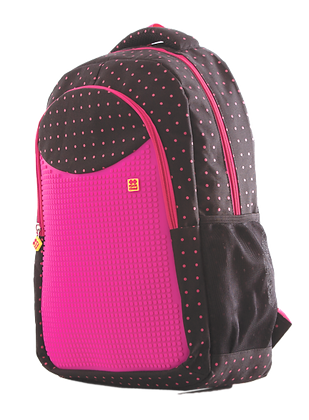 Junior Backpack - Fuchsia-Dots