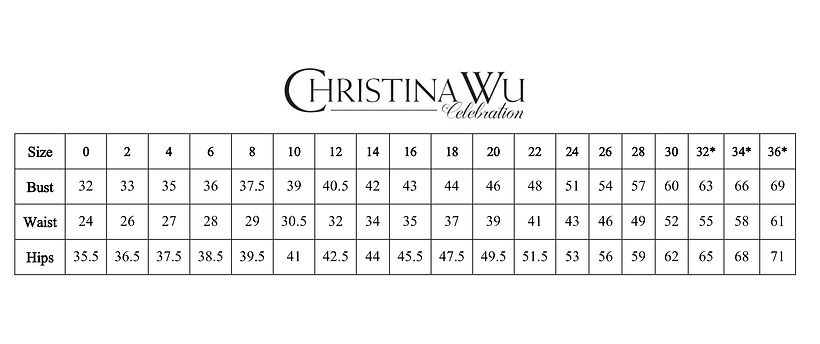 Christina Wu Celebrations size chart