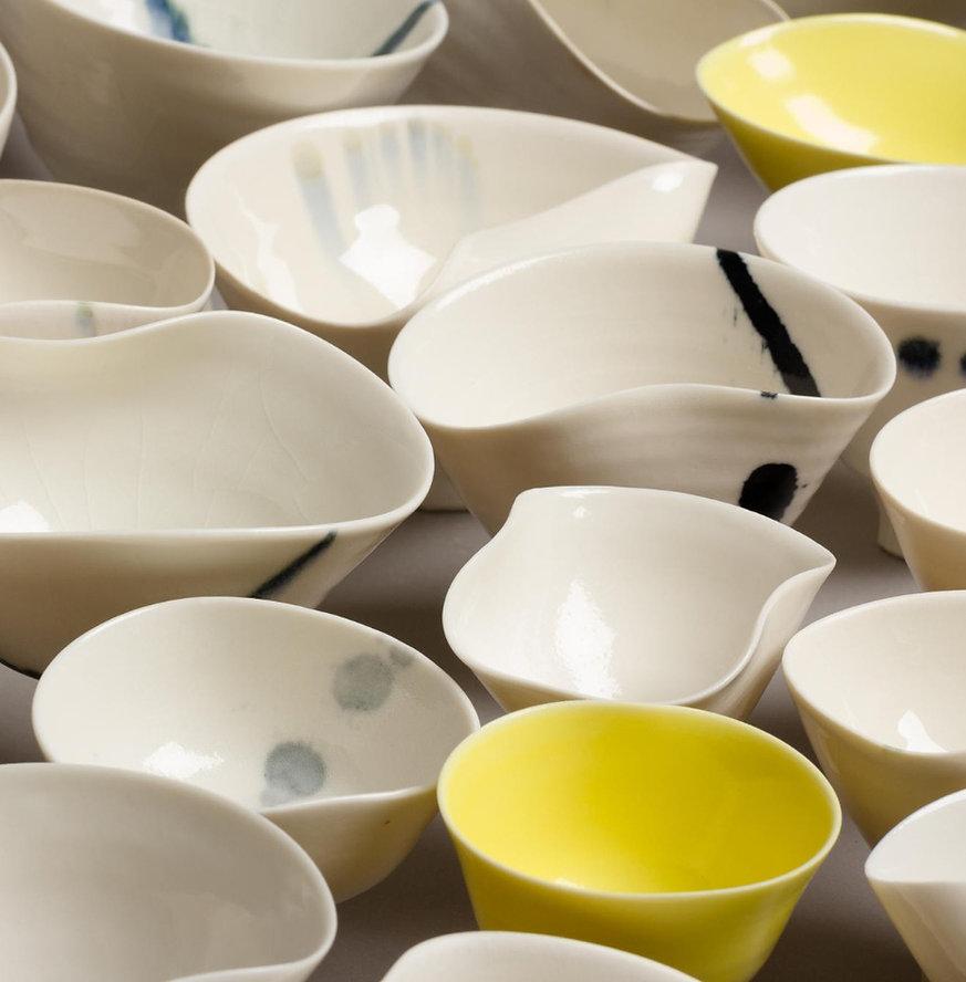 multiple porcelain bowls