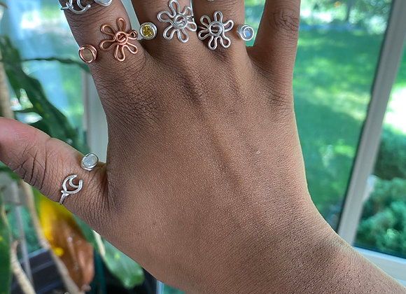 Sterling Silver Flower Rings