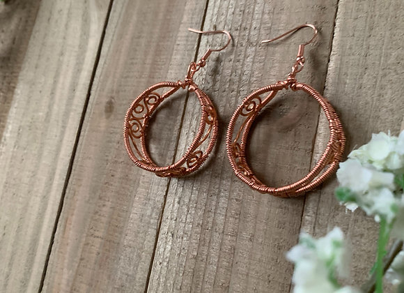 Swirl Copper Thick Hoops