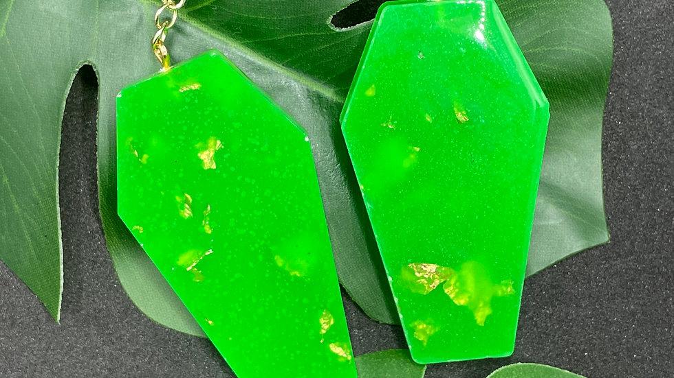 Neon Green & Gold Coffin Earrings