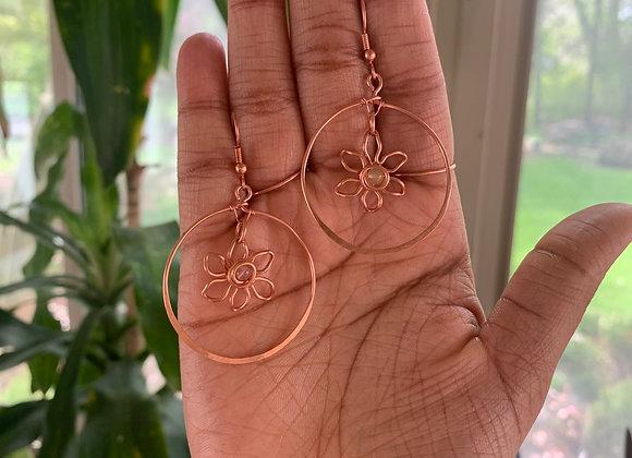 """""""Leila"""" Opal Flower Hoops"""