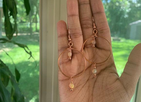 Double Opal Hoops