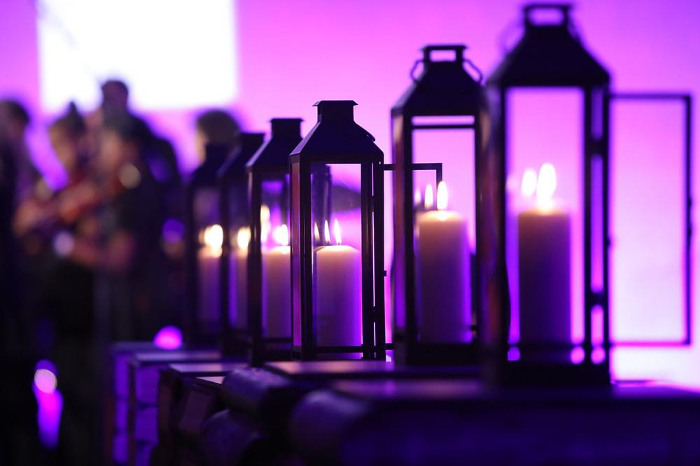 Purple image of candle lanterns