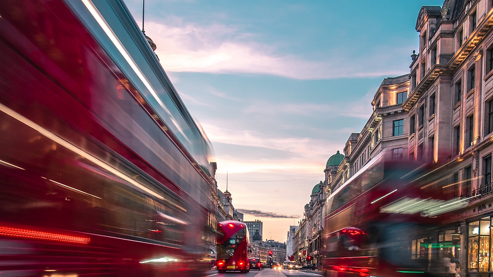 blurred graphic of London buses