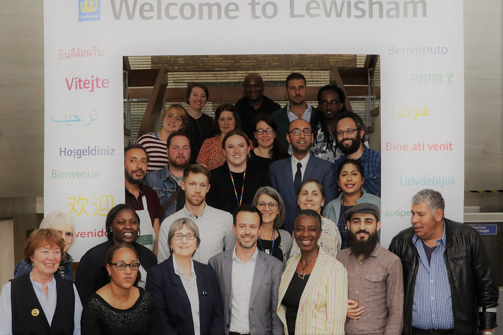 Group of people standing on Lewisham Town Hall Stairs