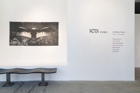 Installation views of an artwork by artist Tatiana Arocha in the exhibition A Perfect Storm at Gallery 8, Harlem, New York, 15 February - 8 March 2020
