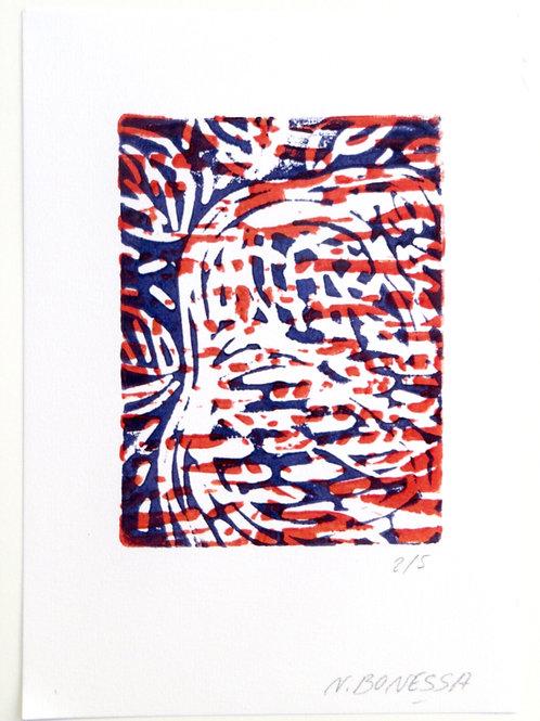 """""""Sans titre"""", 20x15 cm. Linogravure deux couleurs sur papier fort."""