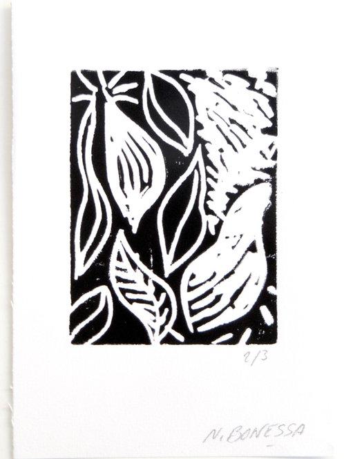 """""""Feuilles"""", 20x15 cm. Linogravure sur papier fort."""