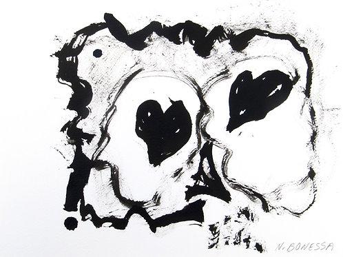 Skull therapy, 24x30cm, encre de Chine sur papier.