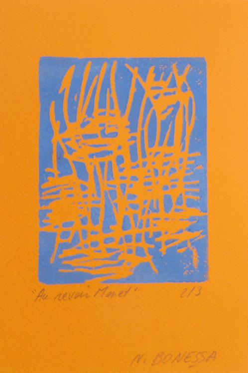 """""""Sans titre"""", 20x15 cm. Linogravure sur papier couleur."""