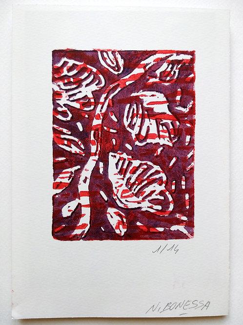 """""""La branche"""" (rouge), 20x14cm, linogravure sur papier 300g."""
