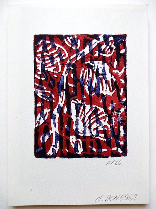 """""""La branche"""", 20x14cm, linogravure sur papier 300g."""