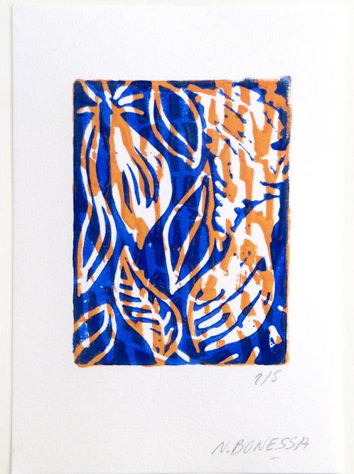"""""""Feuilles"""", 20x15 cm. Linogravure deux couleurs sur papier fort."""