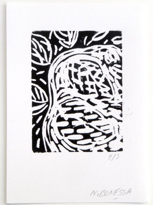 """""""Sans titre"""", 20x15 cm. Linogravure sur papier fort."""