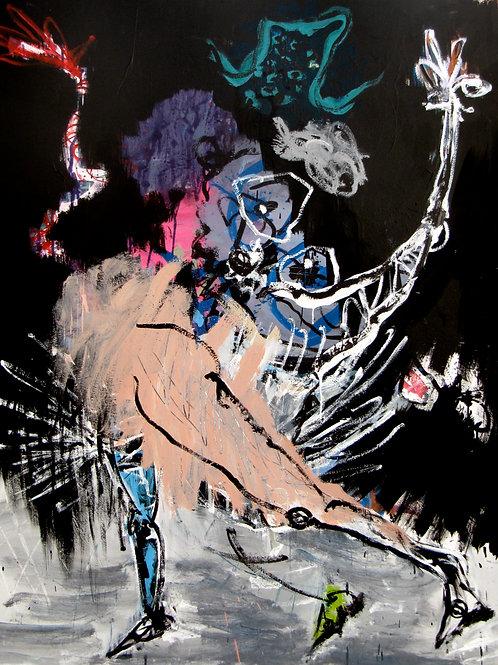 """""""Princesses"""", 162x130cm, acrylique sur toile, 2013."""