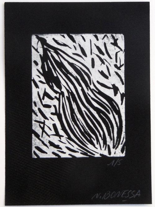 """""""Sans titre"""", 20x15 cm. Linogravure sur papier velin noir."""