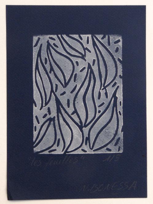 """""""Les feuilles"""", 20x15 cm. Linogravure sur papier velin noir."""