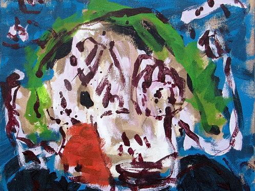"""""""Tête"""",40x50cm, acrylique sur toile, 2005."""