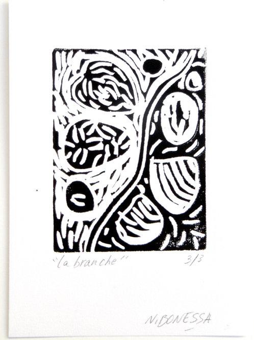 """""""Sans titre"""", 20x15. Linogravure sur papier fort."""