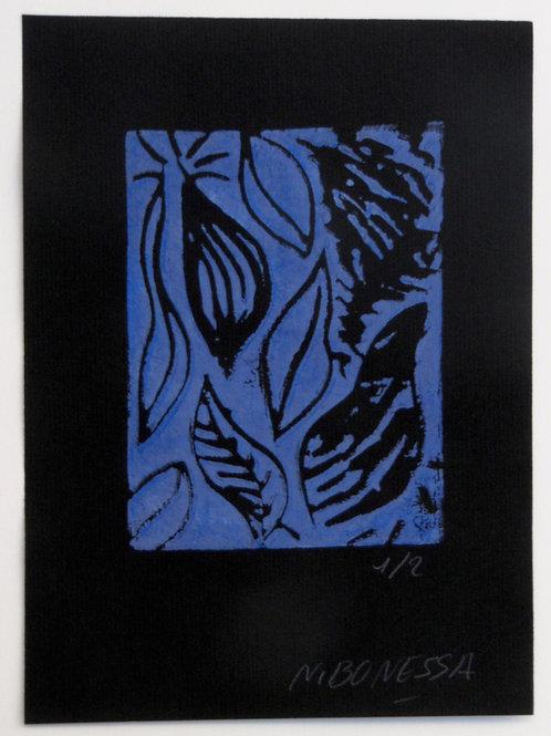 """""""Feuilles"""", 20x15 cm. Linogravure sur papier velin noir."""