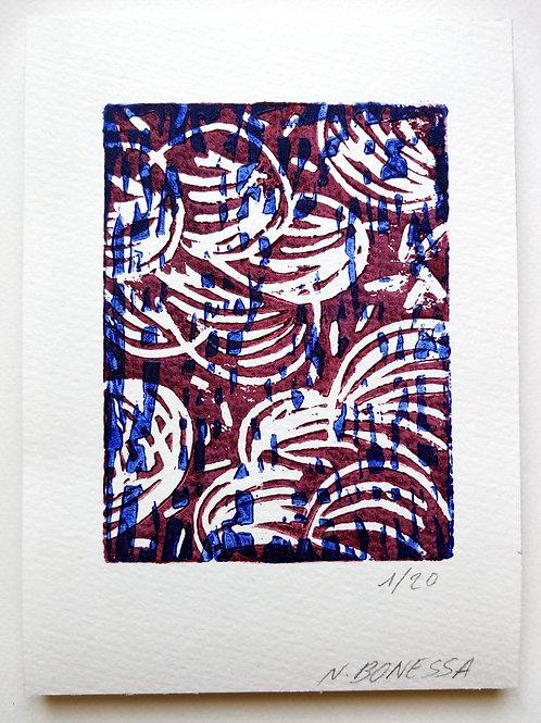 """""""Nuages"""", 20x14cm, linogravure sur papier 300g."""