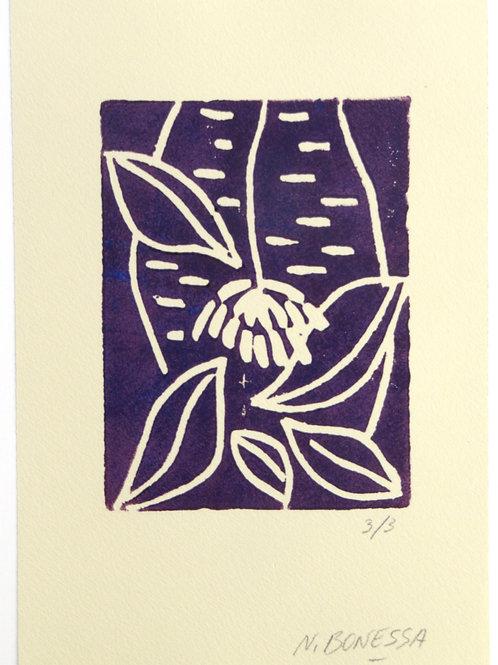 """""""Fleur et feuilles"""", 20x15 cm. Linogravure deux couleurs sur papier fort."""