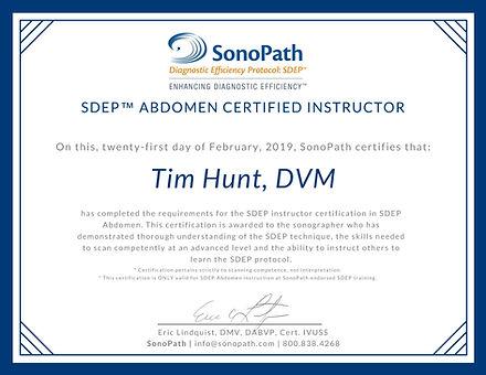 Tim Hunt - SDEP Abdomen Certified Instru