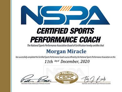 NSPA Certified Sports Performance Coach.