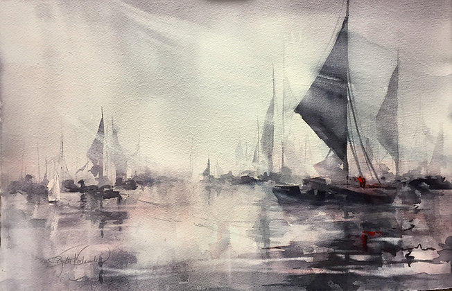 """Giclee Print by Beth Verheyden - """"The Harbor in Grays"""""""
