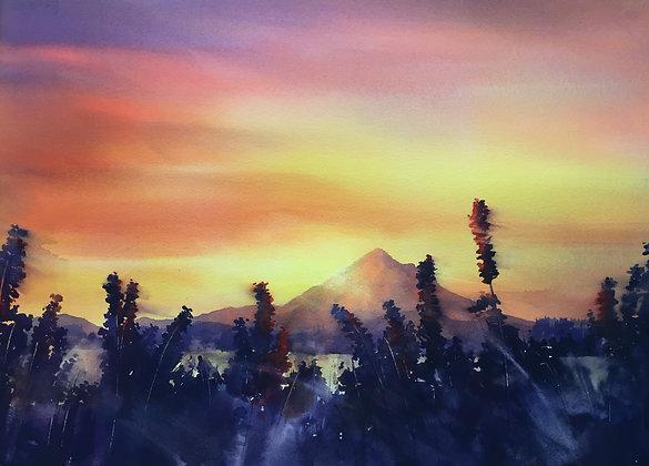 """Original Watercolor by Beth Verheyden - """"Good Morning Boring"""""""